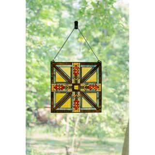 """17.5"""" H Stained Glass Southwestern Mission Style Window Panel - M"""