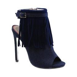 Women's Luichiny Happy One Open Toe Bootie Dark Blue Denim Fabric