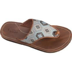 Women's Acorn Artwalk Leather Flip Sandal Aqua Kilim Leather/Cotton Canvas