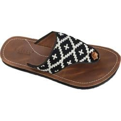 Women's Acorn Artwalk Leather Flip Sandal Black/Cream Southwest Leather/Cotton Canvas