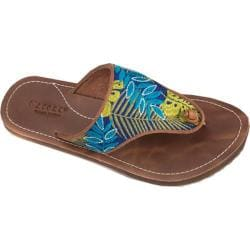 Women's Acorn Artwalk Leather Flip Sandal Blue Jungle Leather/Cotton Canvas