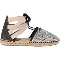 Women's Charles David Sunshine Espadrille Silver Glitter Fabric Canvas