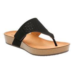 Women's Clarks Aeron Logan Thong Sandal Black Leather