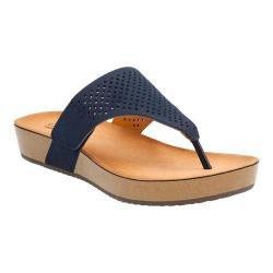 Women's Clarks Aeron Logan Thong Sandal Navy Leather