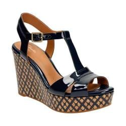 Women's Clarks Amelia Roma Wedge Sandal Navy Patent Leather