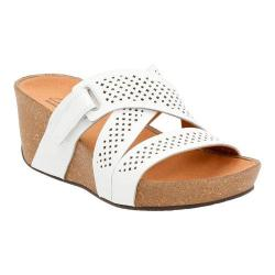 Women's Clarks Auriel Bright Wedge Slide White Leather
