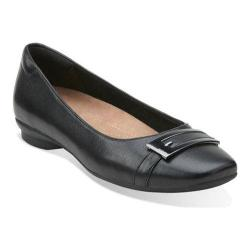 Women's Clarks Candra Glare Flat Black Leather