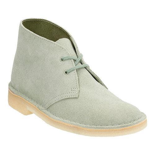 Womens Boots Clarks Desert Boot Pale Green Suede