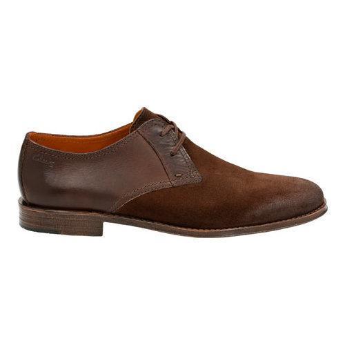 Men's Clarks Hawkley Walk Two Tone Shoe Dark Brown Combi - Thumbnail 1