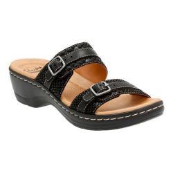 Women's Clarks Hayla Mariel Slide Black Snake Embossed Leather/Suede Combination
