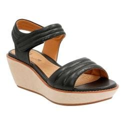 Women's Clarks Hazelle Alba Wedge Sandal Black Leather