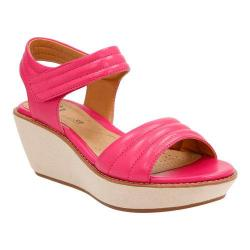 Women's Clarks Hazelle Alba Wedge Sandal Fuchsia Leather