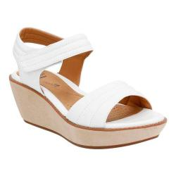 Women's Clarks Hazelle Alba Wedge Sandal White Leather