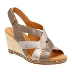 Women's Clarks Helio Coral Wedge Sandal Metallic Leather