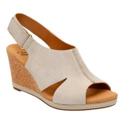 Women's Clarks Helio Float 4 Wedge Sandal Sand Suede