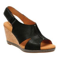 Women's Clarks Helio Float 4 Wedge Sandal Black Suede