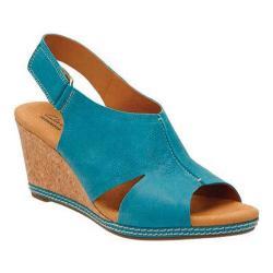 Women's Clarks Helio Float 4 Wedge Sandal Blue Suede