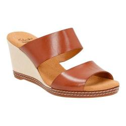 Women's Clarks Helio Lilly Wedge Sandal Tan Leather