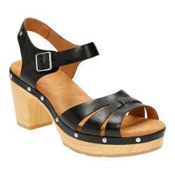 Women's Clarks Ledella Trail Strappy Sandal Black Full Grain Leather