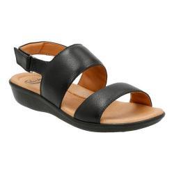 Women's Clarks Manilla Penna Quarter Strap Sandal Black Leather