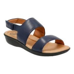 Women's Clarks Manilla Penna Quarter Strap Sandal Navy Leather