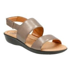 Women's Clarks Manilla Penna Quarter Strap Sandal Pewter Leather