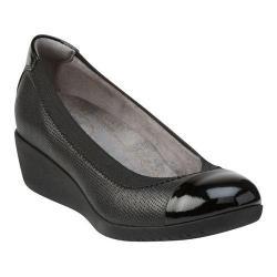 Women's Clarks Petula Sadie Cap Toe Shoe Black Full Grain Leather/Patent Leather