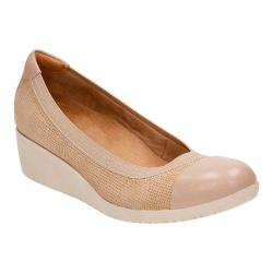 Women's Clarks Petula Sadie Cap Toe Shoe Sand Nubuck/Full Grain Leather