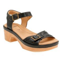 Women's Clarks Preslet Stone Ankle Strap Sandal Black Leather