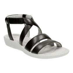 Women's Clarks Sillian Spade Strappy Sandal Black Synthetic