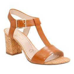Women's Clarks Smart Deva T-Strap Sandal Tan Leather
