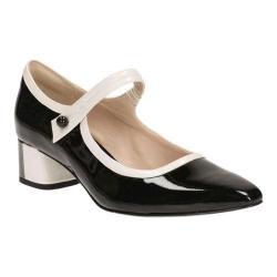 Women's Clarks Swixties Faye Mary Jane Black Combination Patent Leather