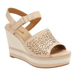 Women's Clarks Zia Graze Wedge Sandal Nude Leather