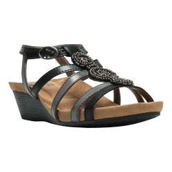 Women's Cobb Hill Hannah T-Strap Sandal Black Full Grain Leather