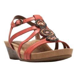 Women's Cobb Hill Hannah T-Strap Sandal Coral Full Grain Leather