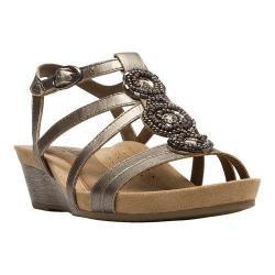 Women's Cobb Hill Hannah T-Strap Sandal Pewter Full Grain Leather