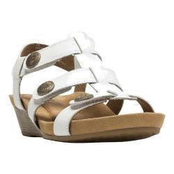 Women's Cobb Hill Harper T-Strap Sandal White Full Grain Leather