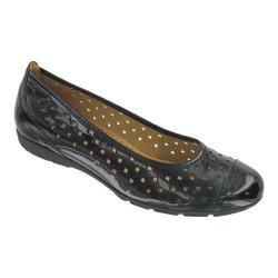 Women's Gabor 44-169 Hovercraft Perforated Ballerina Flat Black Nappa Lack Leather
