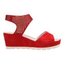 Women's Gabor 45-741 Perforated Strap Wedge Sandal Rosso Leather