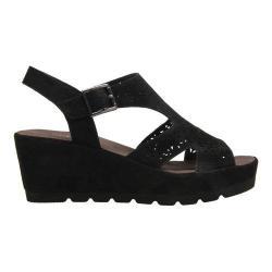 Women's Gabor 45-742 T Strap Wedge Sandal Black Leather