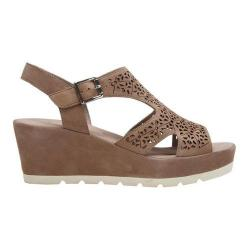 Women's Gabor 45-742 T Strap Wedge Sandal Puder Leather