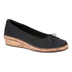 Women's Grasshoppers Brooke Wedge Black Stretch Twill