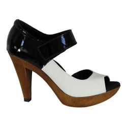Women's Helle Comfort Noemi Open Toe Mary Jane White/Black Leather