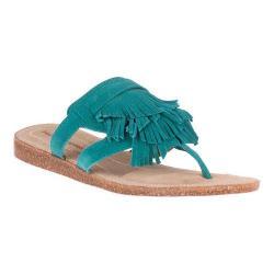 Women's Hush Puppies Bryson Jade Fringe Thong Sandal Turquoise Leather