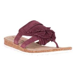 Women's Hush Puppies Bryson Jade Fringe Thong Sandal Wine Leather