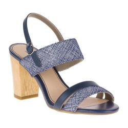 Women's Hush Puppies Molly Malia Quarter Strap Sandal Navy Scratched Leather