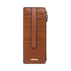 Women's Lodis Stephanie Credit Card Case w/Zipper Pocket Chestnut