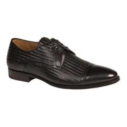 Men's Mezlan Cortes Cap Toe Derby Black Laser Printed/Smooth Calfskin