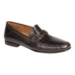 Men's Mezlan Gaudi Loafer Black/Dark Brown Genuine Croc/Tumbled Calfskin