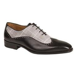 Men's Mezlan Marti Wing Tip Oxford Black and White Calfskin/Printed Suede